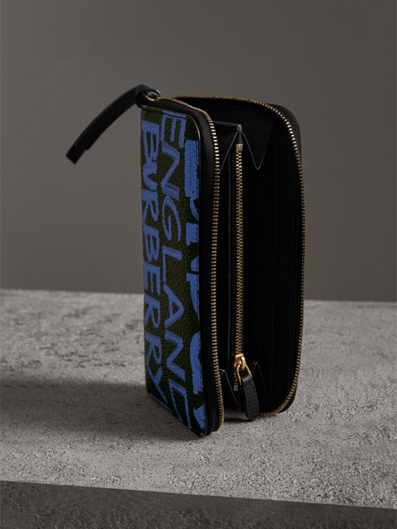 Graffiti Print Leather Ziparound Wallet in Blue Black - Women | Burberry - cell image 3