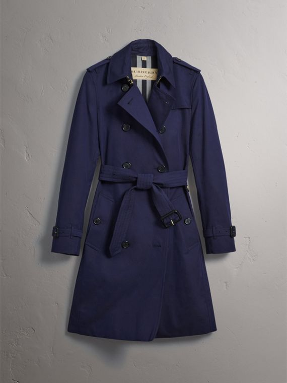 Cotton Gabardine Trench Coat in Blueberry - Women | Burberry - cell image 3