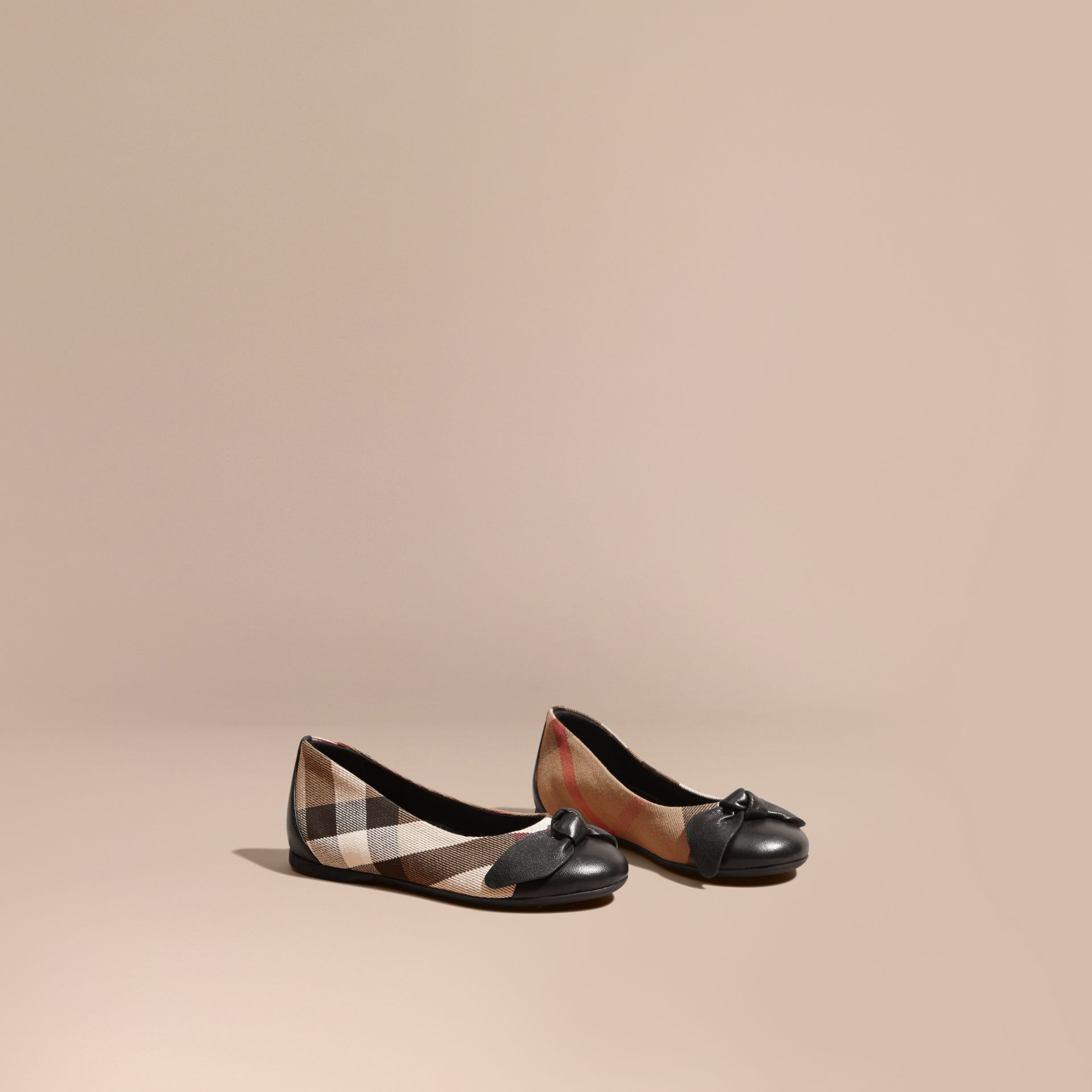 Leather and House Check Ballerinas in Black - Girl | Burberry Australia - gallery image 1