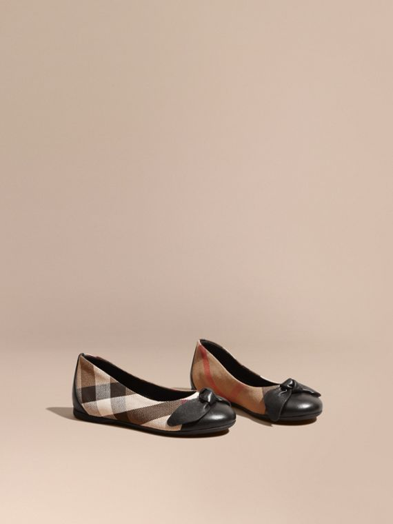 Leather and House Check Ballerinas in Black - Girl | Burberry