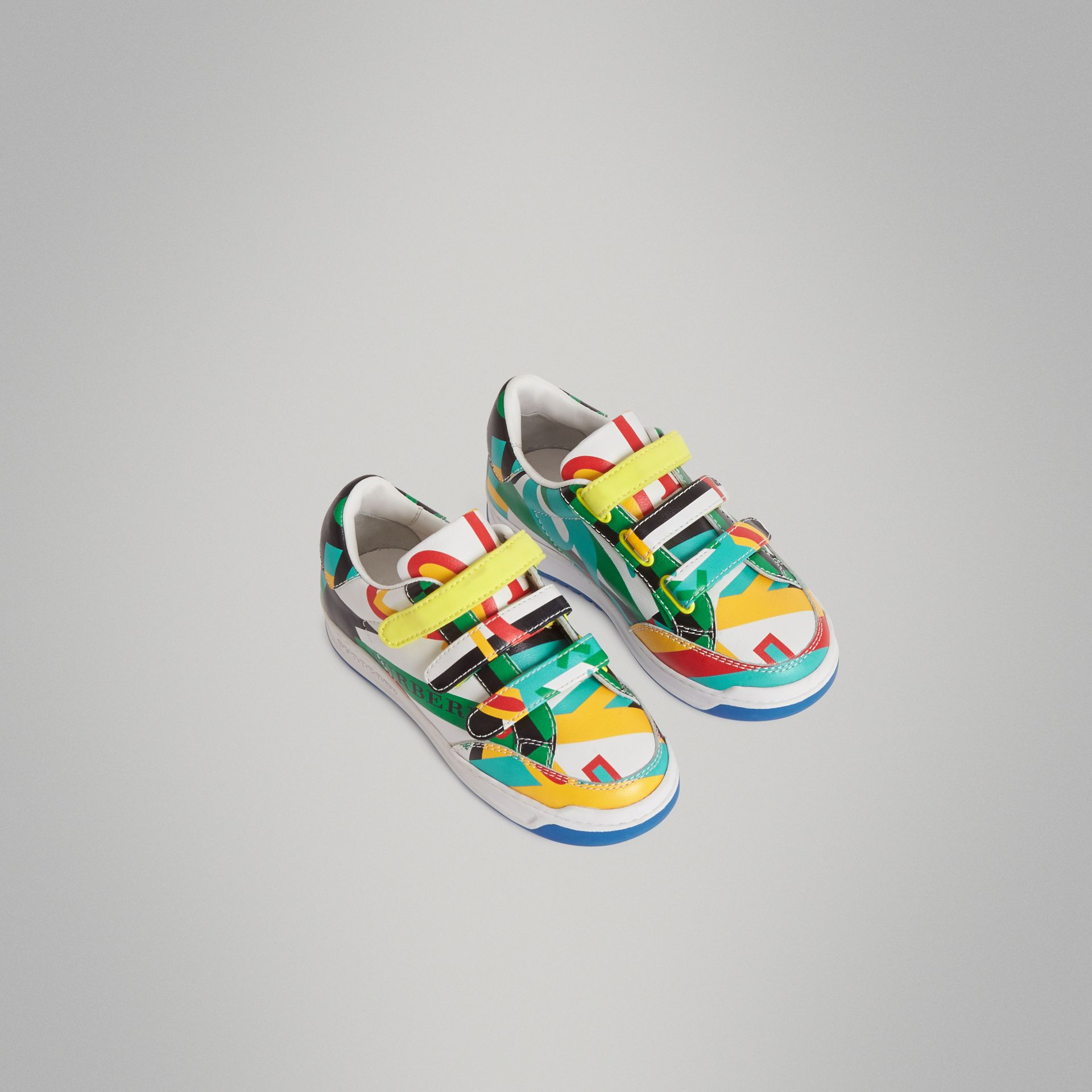 Graphic Print Leather Sneakers in Multicolour | Burberry Australia - gallery image 0