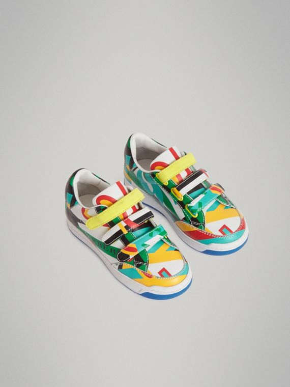 Graphic Print Leather Sneakers in Multicolour