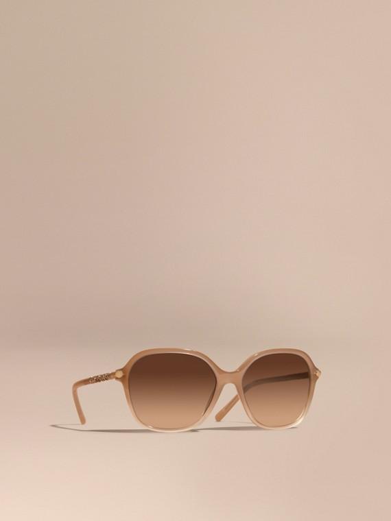 Óculos de sol com armação redonda e detalhe xadrez Chino Grey