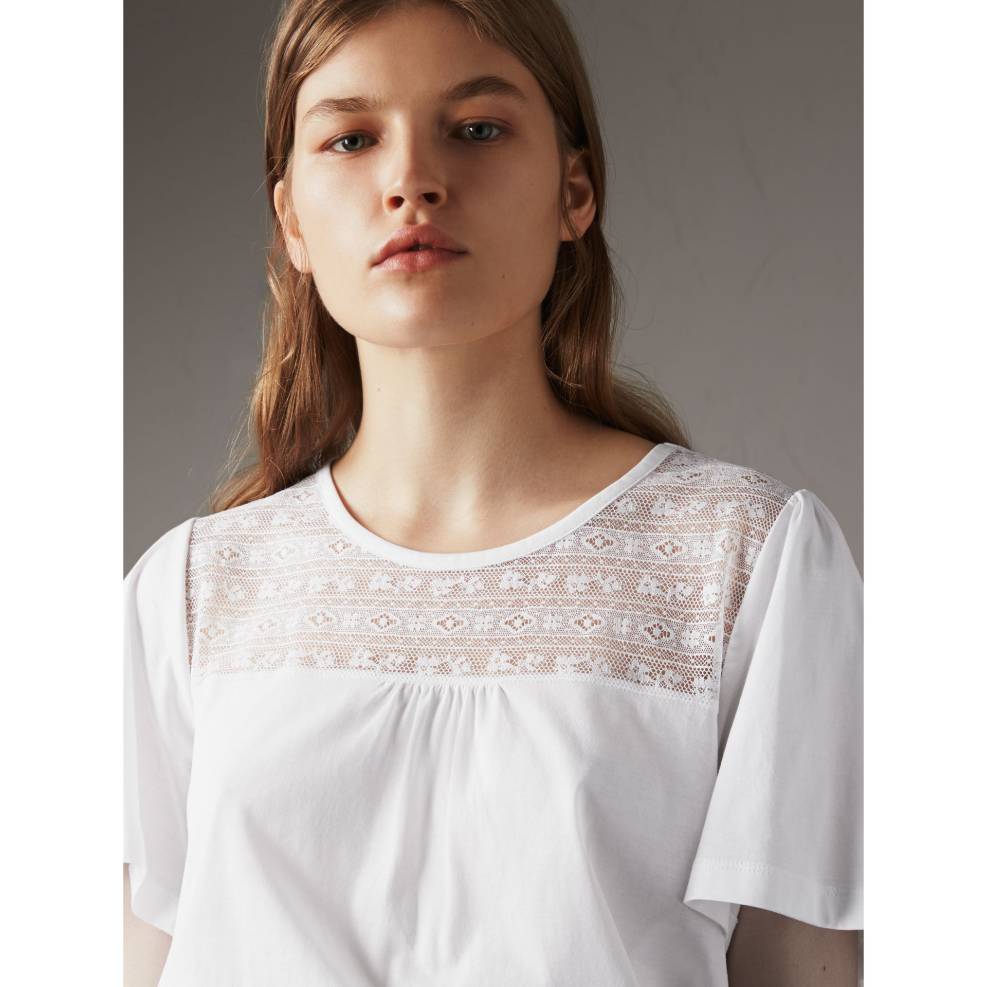 Lace Panel Cotton T-shirt in White - Women | Burberry - gallery image 5