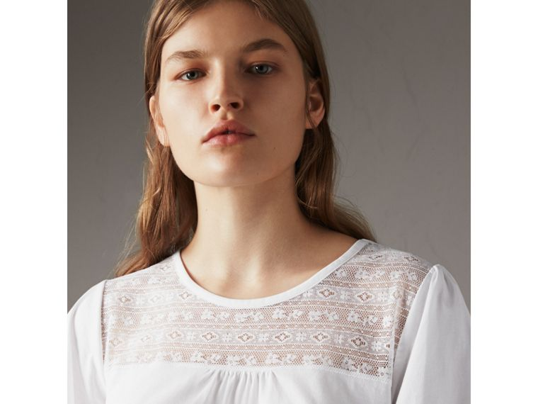Lace Panel Cotton T-shirt in White - Women | Burberry - cell image 4