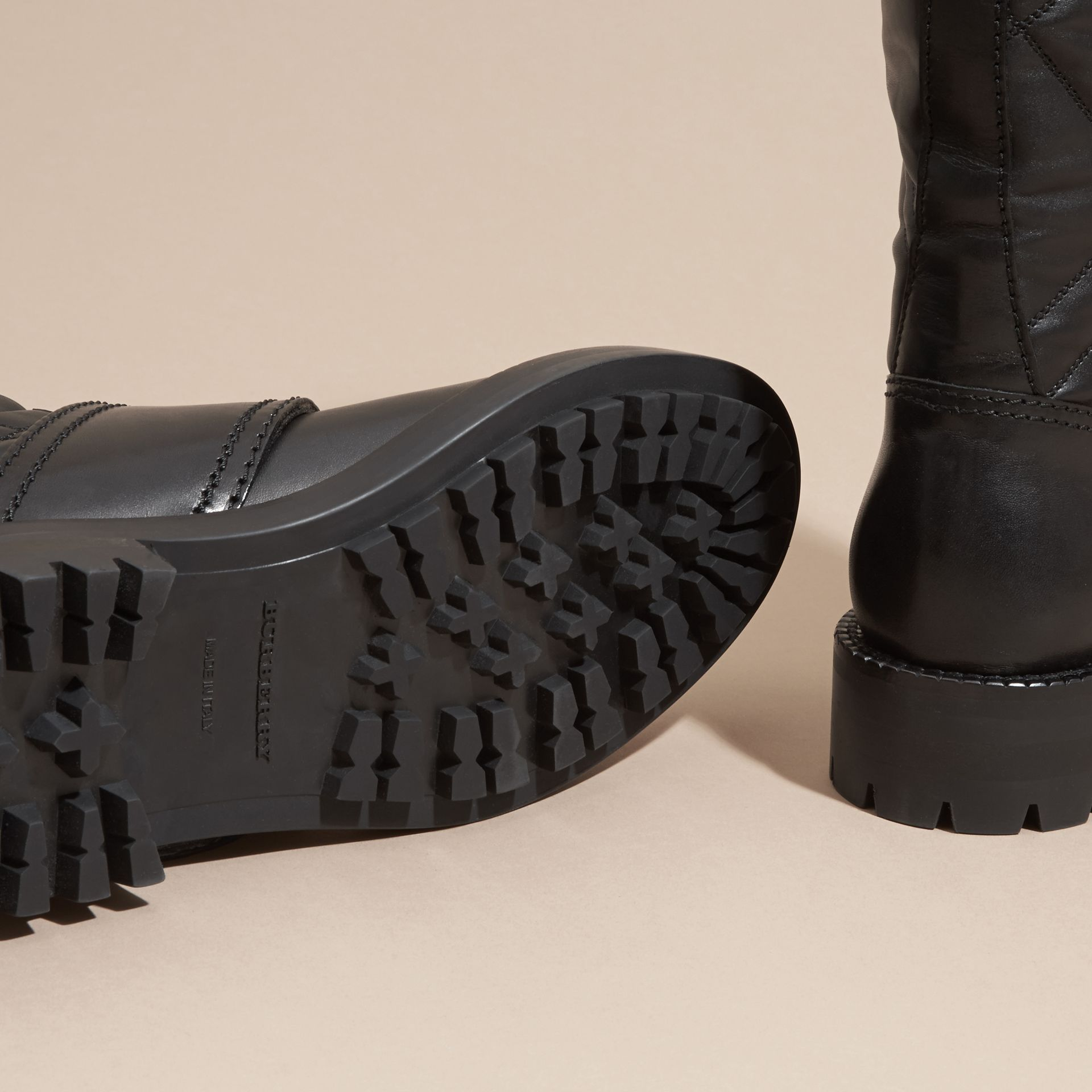 Black Buckle Detail Check Quilted Leather Boots - gallery image 5