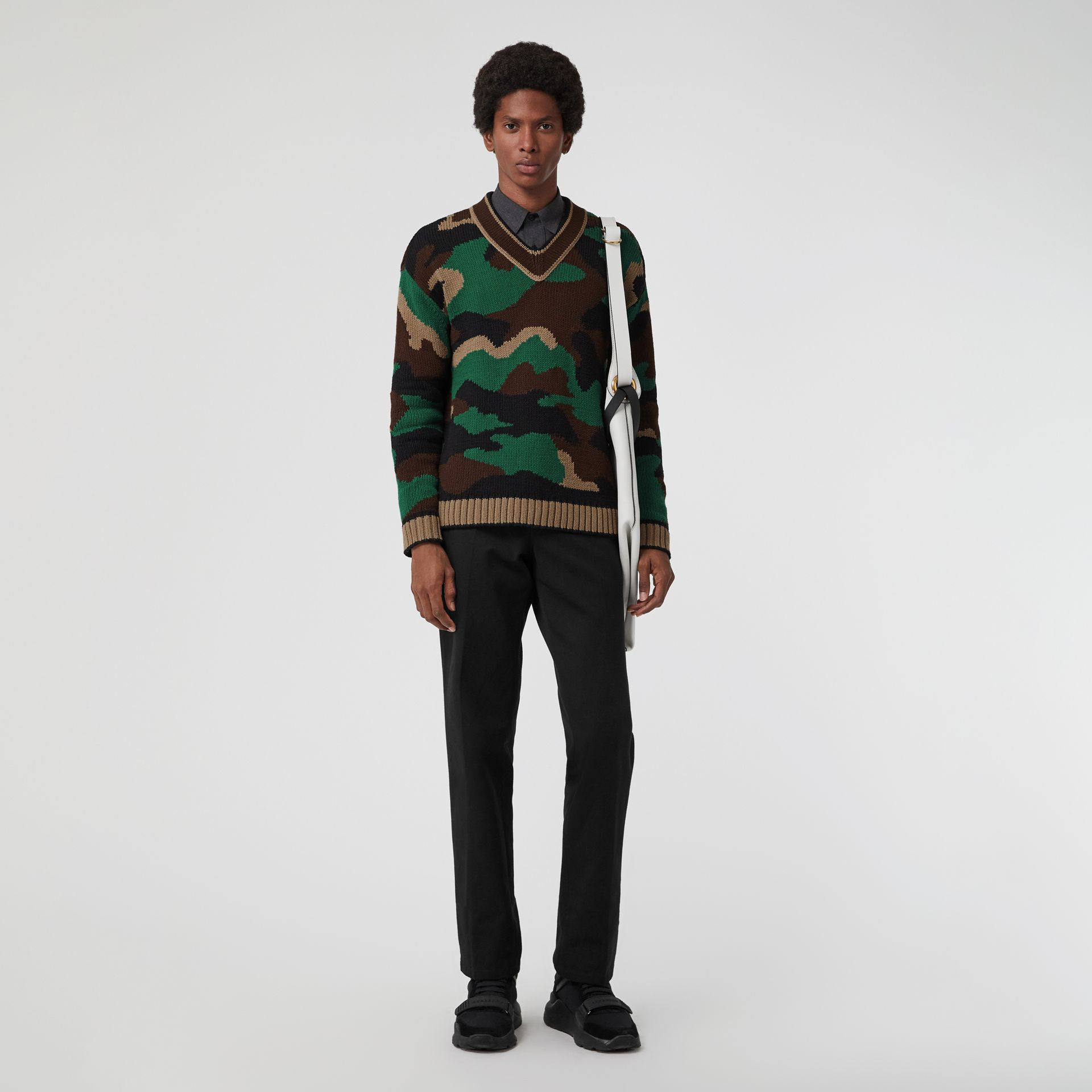 Camouflage Intarsia Cotton Blend Sweater in Forest Green - Men | Burberry - gallery image 0
