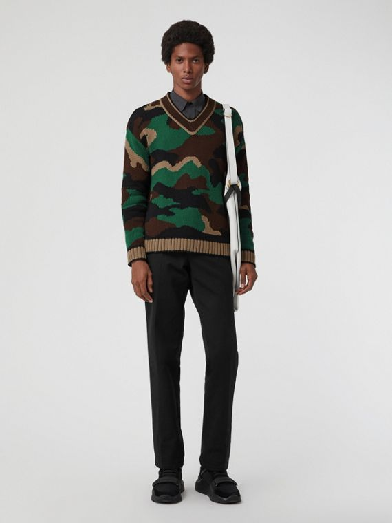 Camouflage Intarsia Cotton Blend Sweater in Forest Green