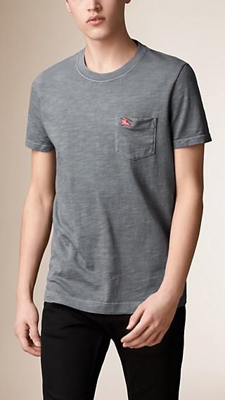 T-shirt en jersey double teinte filé en gros