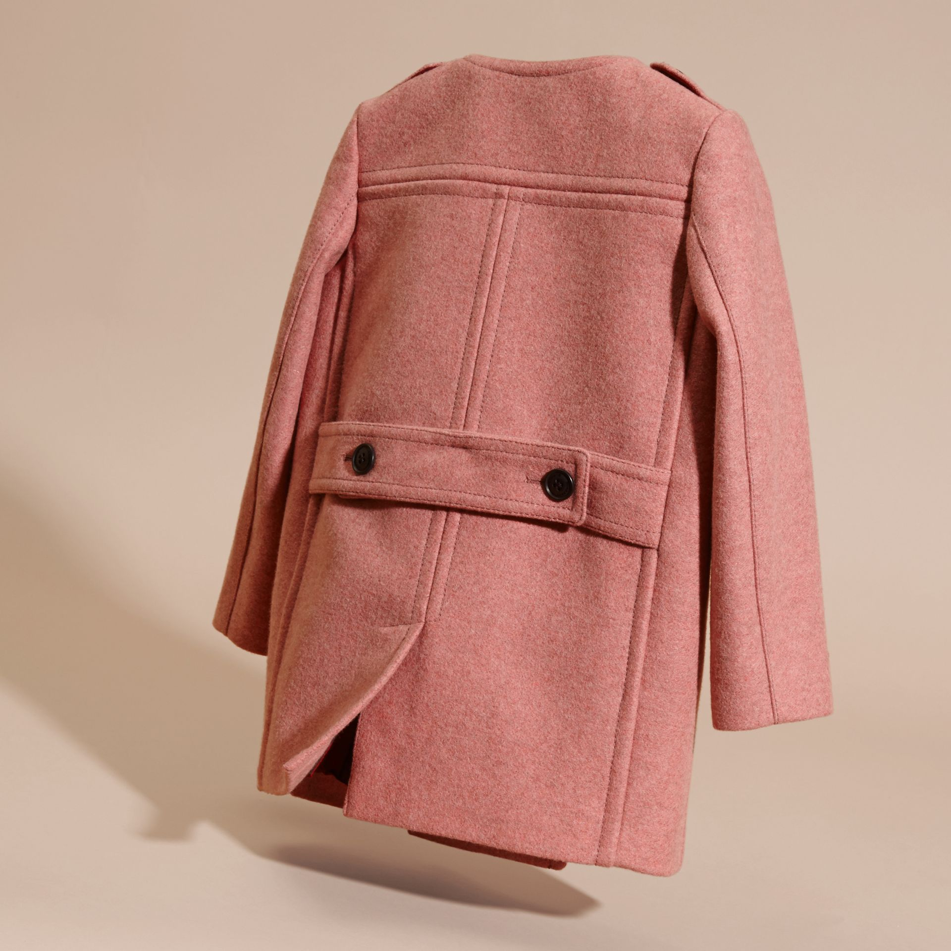 Peony rose melange Collarless Wool Cashmere Blend Coat - gallery image 4