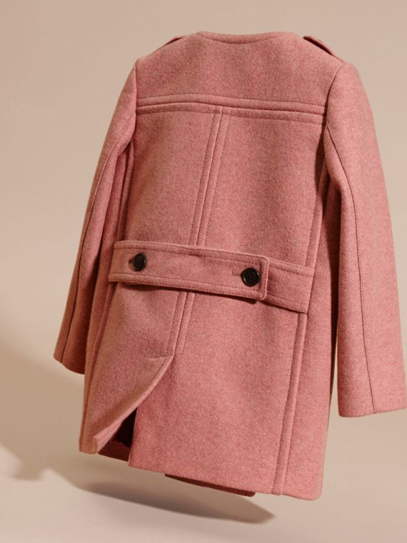 Peony rose melange Collarless Wool Cashmere Blend Coat - cell image 3