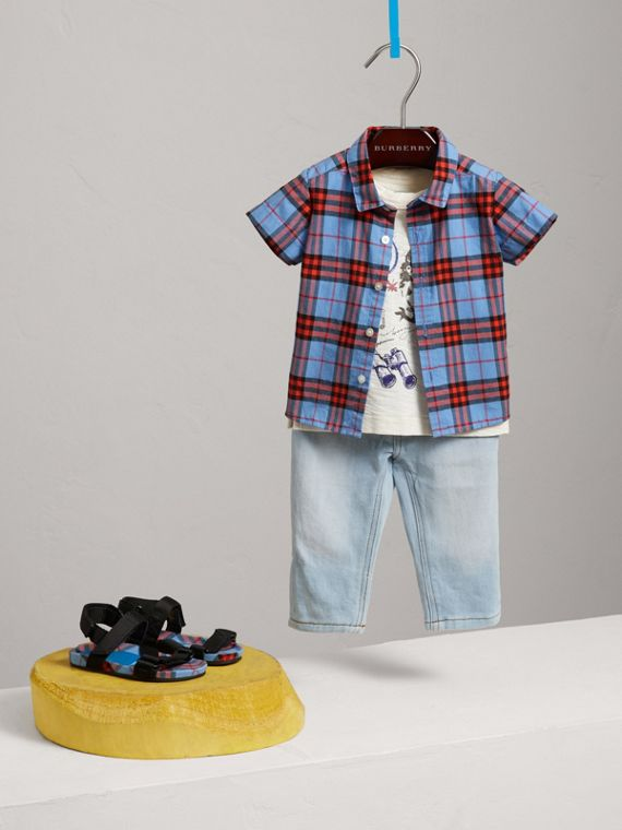 Short-sleeve Check Cotton Shirt in Cornflower Blue