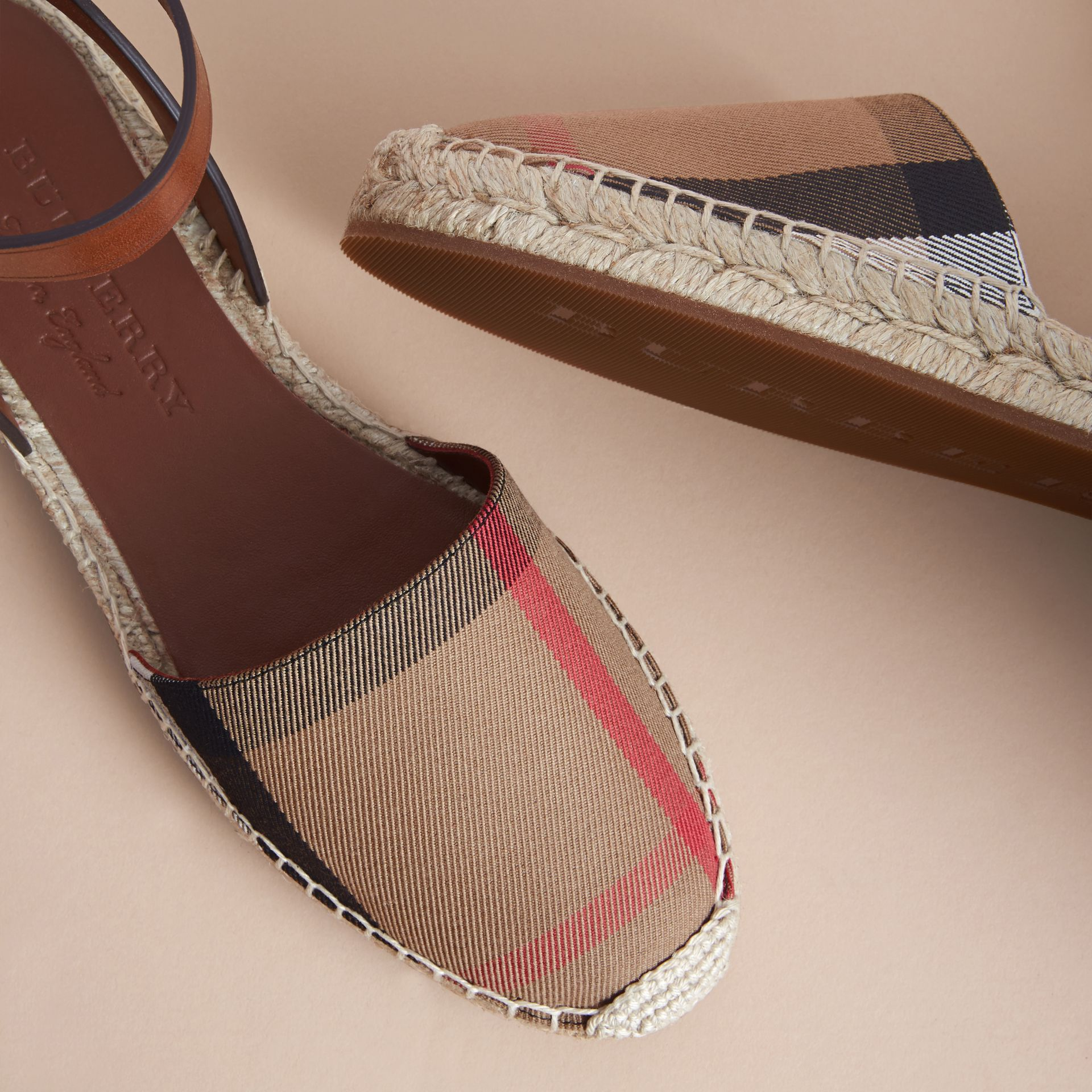 Leather and House Check Espadrille Sandals in Dark Tan - Women | Burberry Hong Kong - gallery image 5