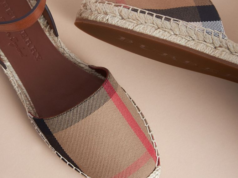 Leather and House Check Espadrille Sandals in Dark Tan - Women | Burberry Hong Kong - cell image 4