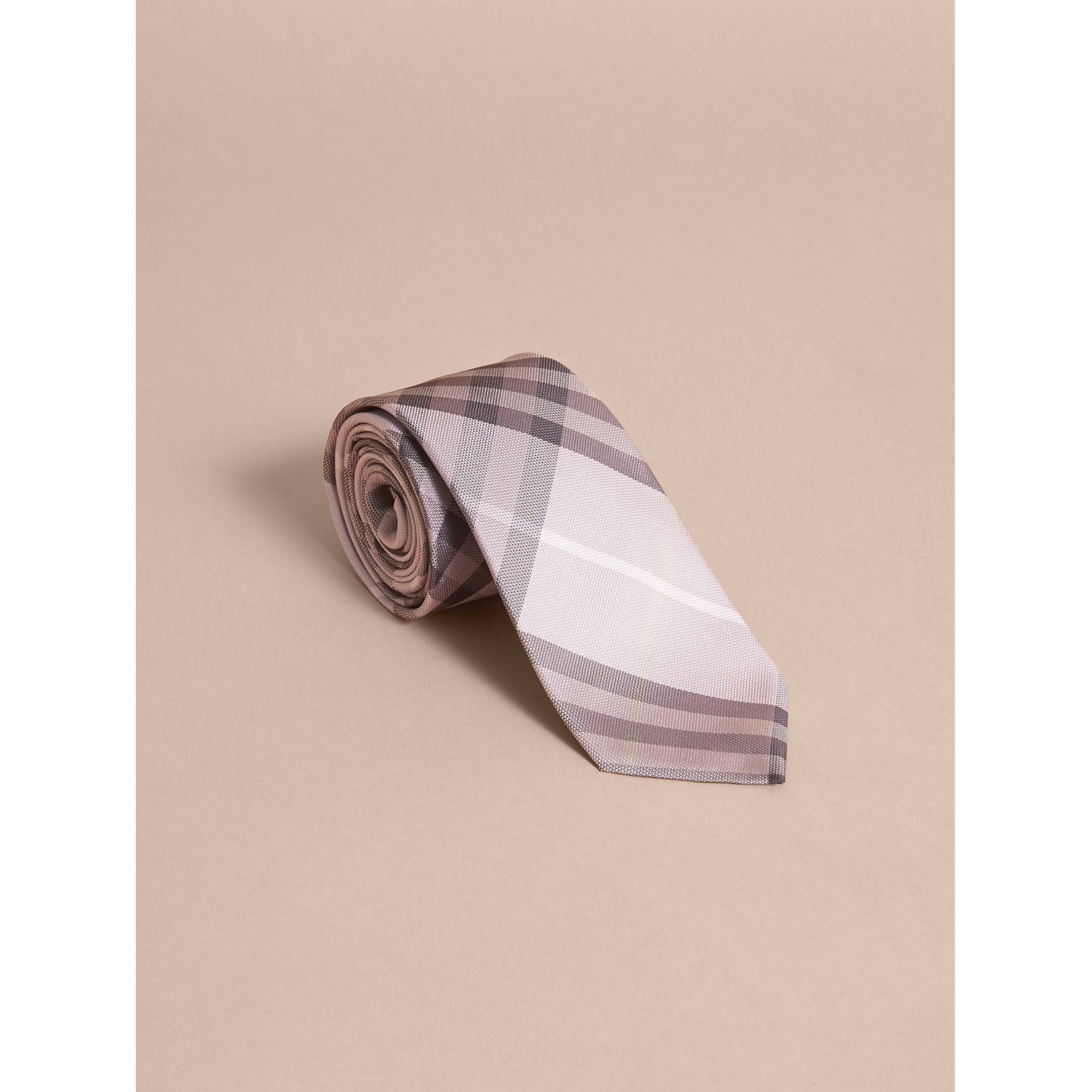 Modern Cut Check Silk Tie in Dusty Pink - gallery image 1