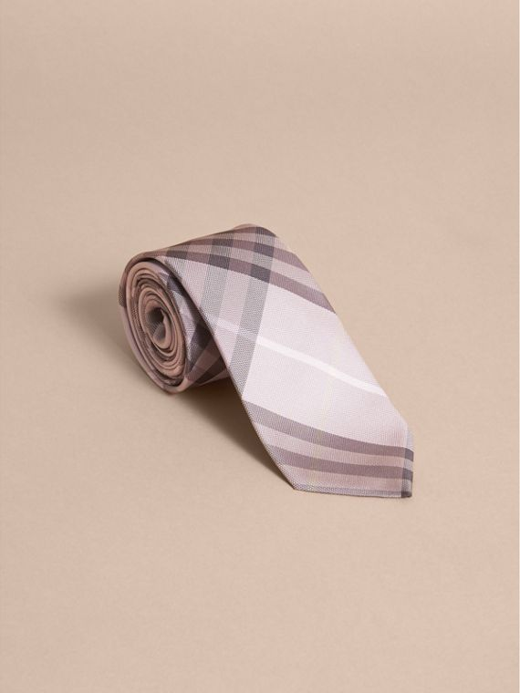 Modern Cut Check Silk Tie in Dusty Pink