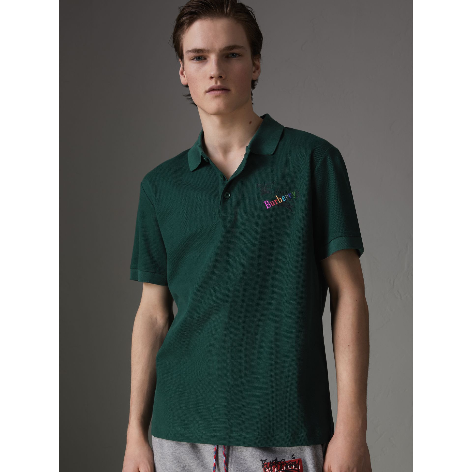Triple Archive Logo Cotton Piqué Polo Shirt in Dark Forest Green - Men | Burberry Australia - gallery image 4