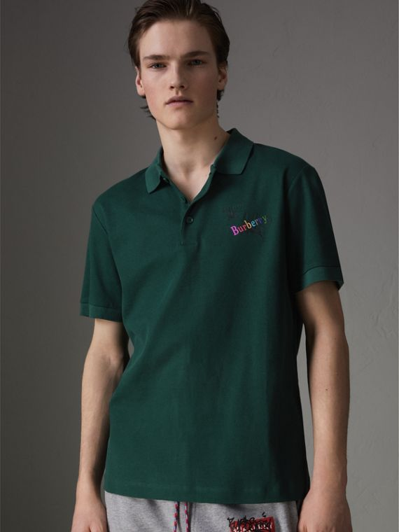 Triple Archive Logo Cotton Piqué Polo Shirt in Dark Forest Green
