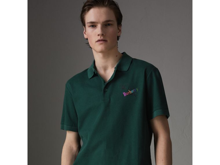 Triple Archive Logo Cotton Piqué Polo Shirt in Dark Forest Green - Men | Burberry United Kingdom - cell image 4