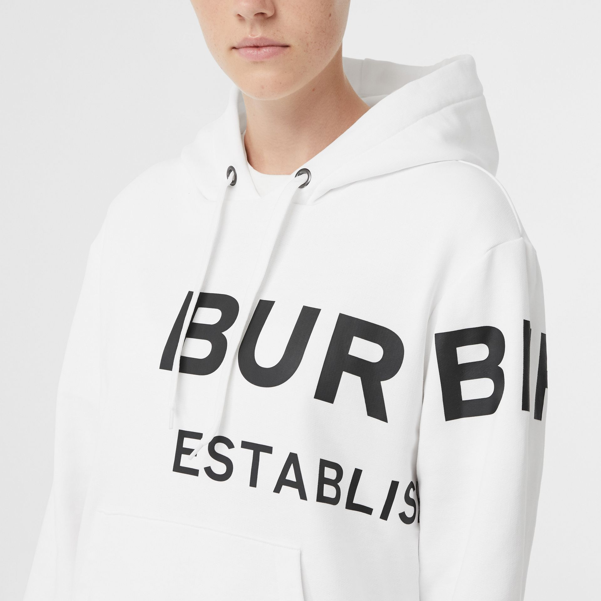 Horseferry Print Cotton Oversized Hoodie in White - Women | Burberry - gallery image 4