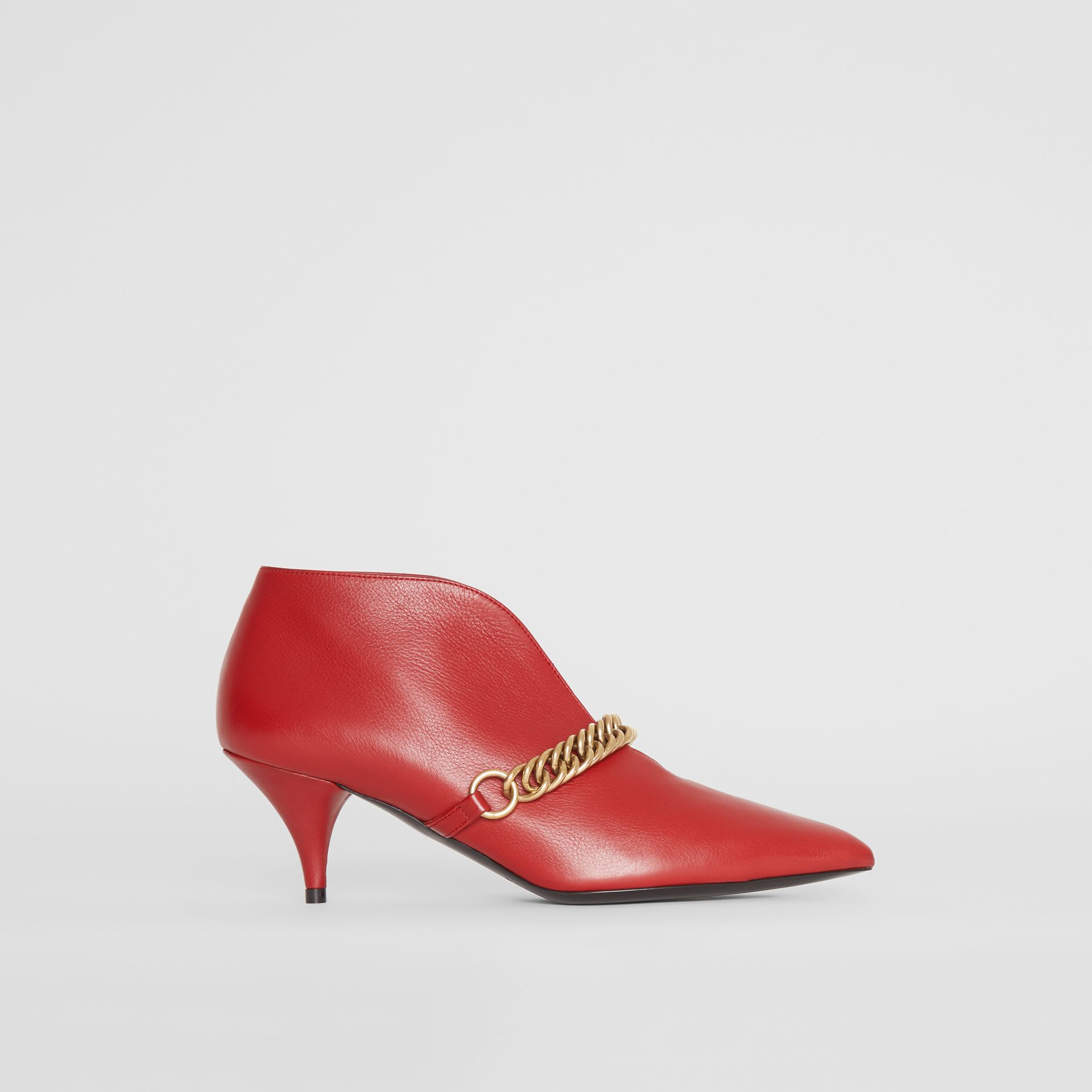Link Detail Leather Ankle Boots in Claret - Women | Burberry - gallery image 5