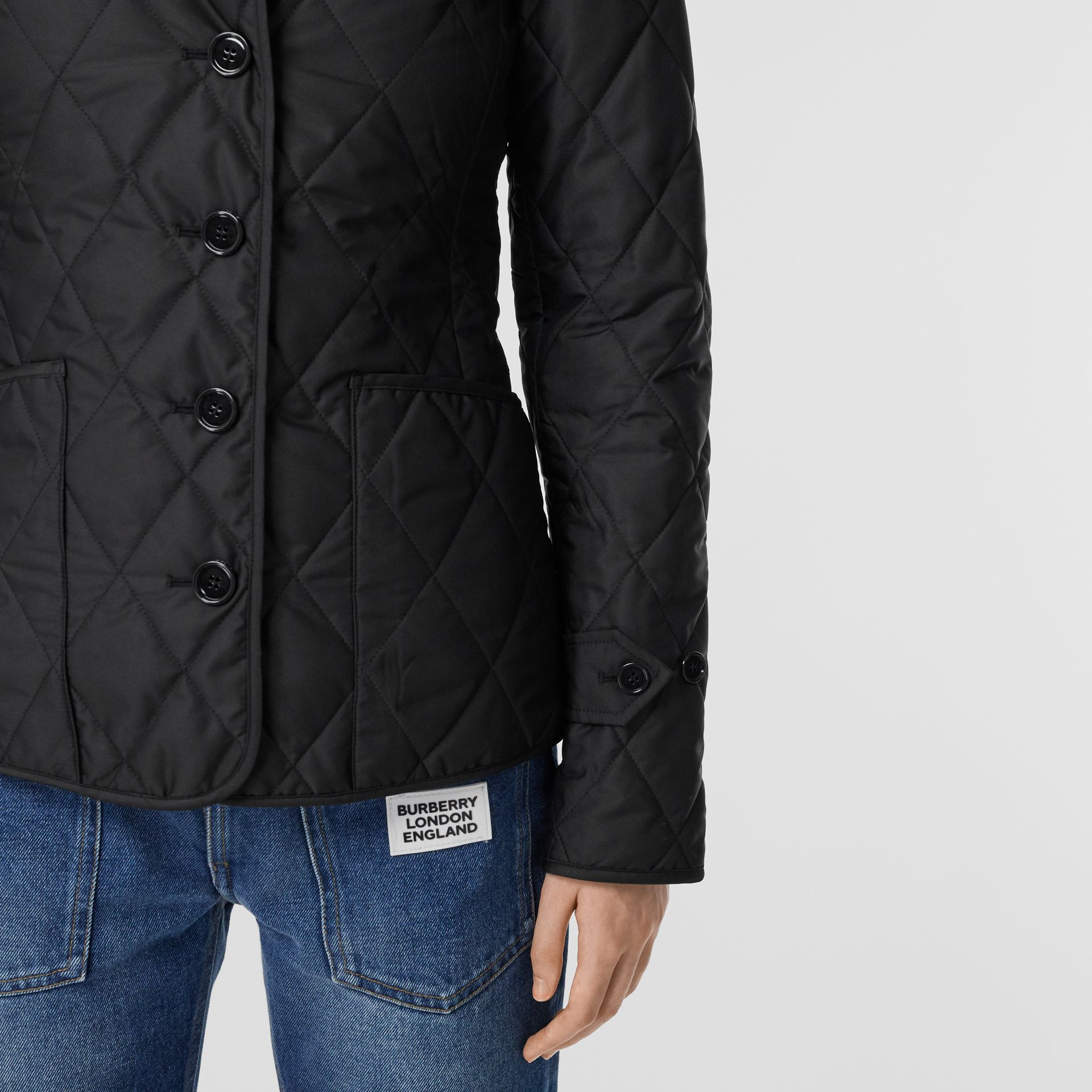 Diamond Quilted Thermoregulated Jacket in Black | Burberry Canada - gallery image 1