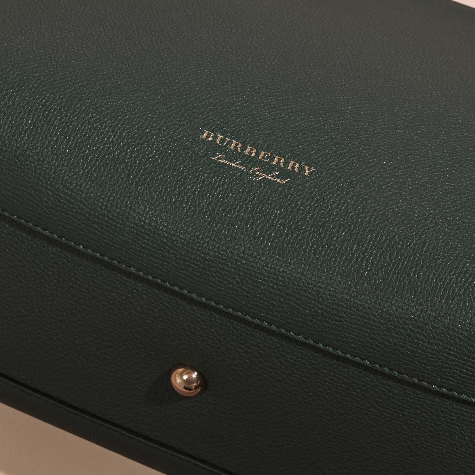 The Medium Banner in Leather and House Check Dark Bottle Green - gallery image 2