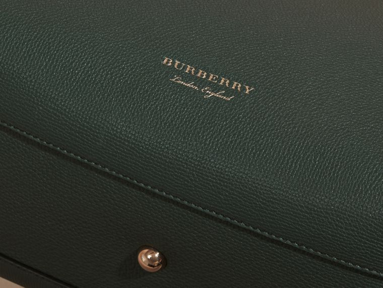 The Medium Banner in Leather and House Check in Dark Bottle Green - Women | Burberry - cell image 1