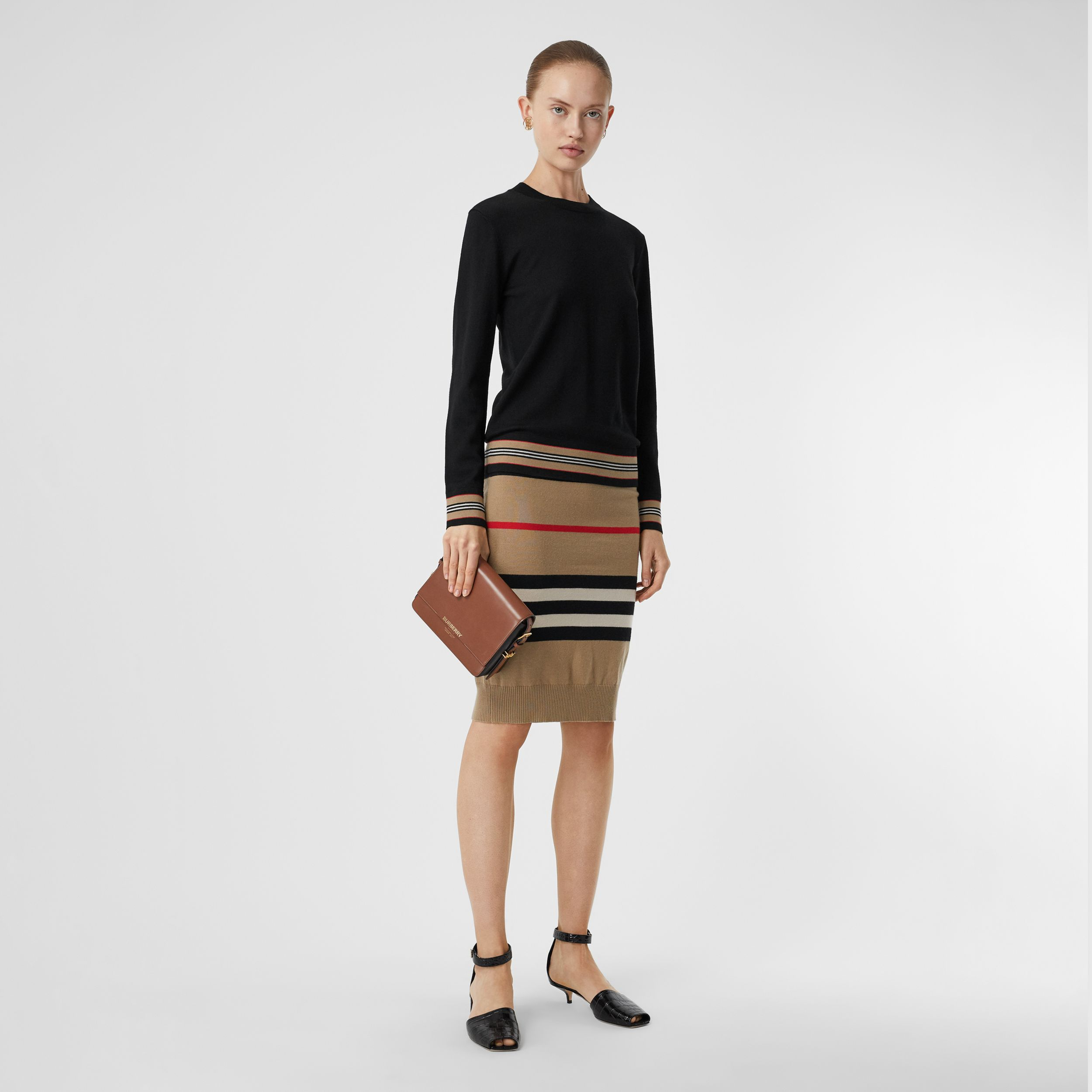 Icon Stripe Detail Merino Wool Sweater in Black - Women | Burberry - 1