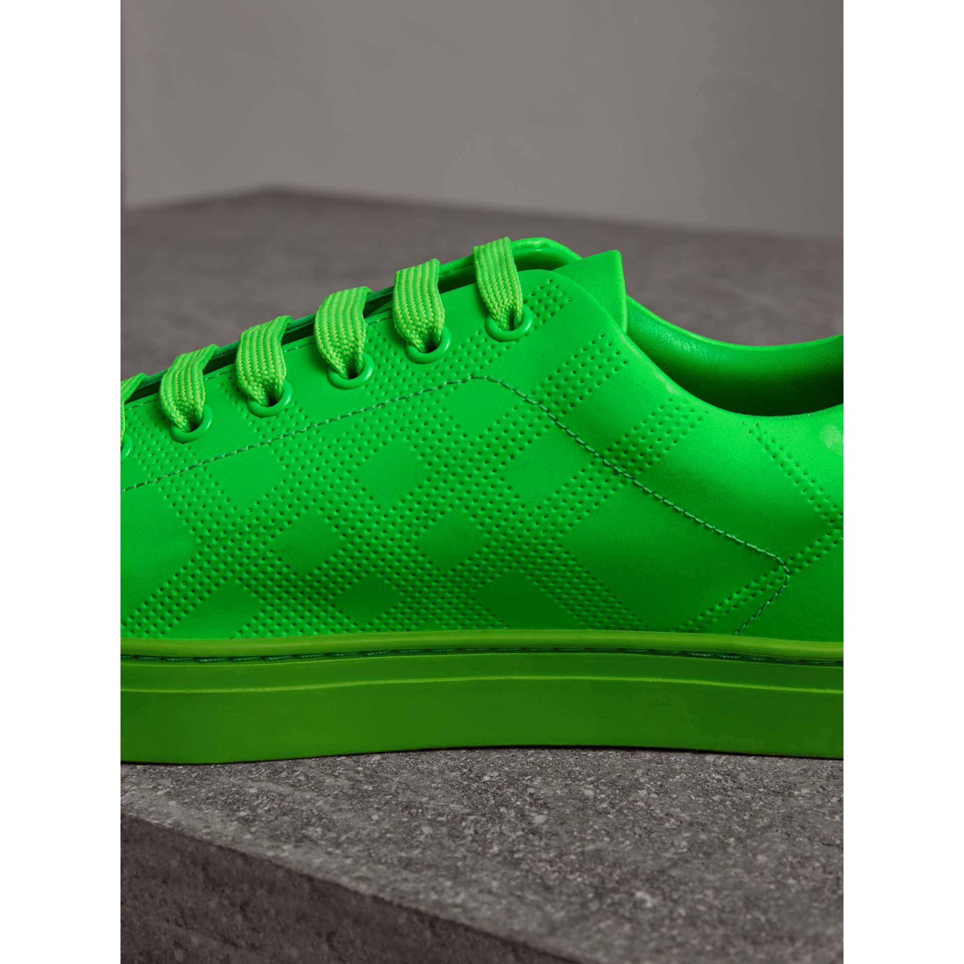 Perforated Check Leather Trainers in Neon Green - Men | Burberry - gallery image 1