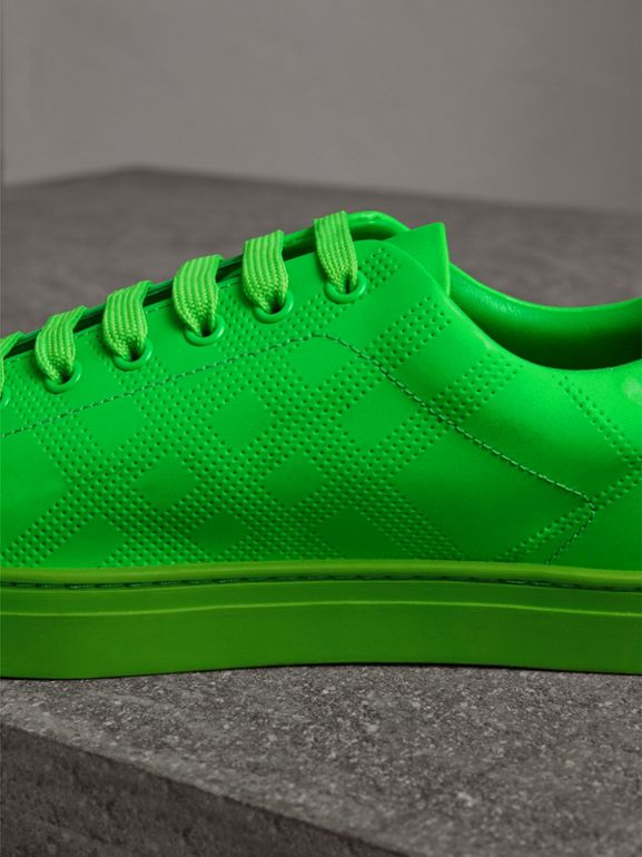 Perforated Check Leather Sneakers in Neon Green - Men | Burberry United Kingdom - cell image 1