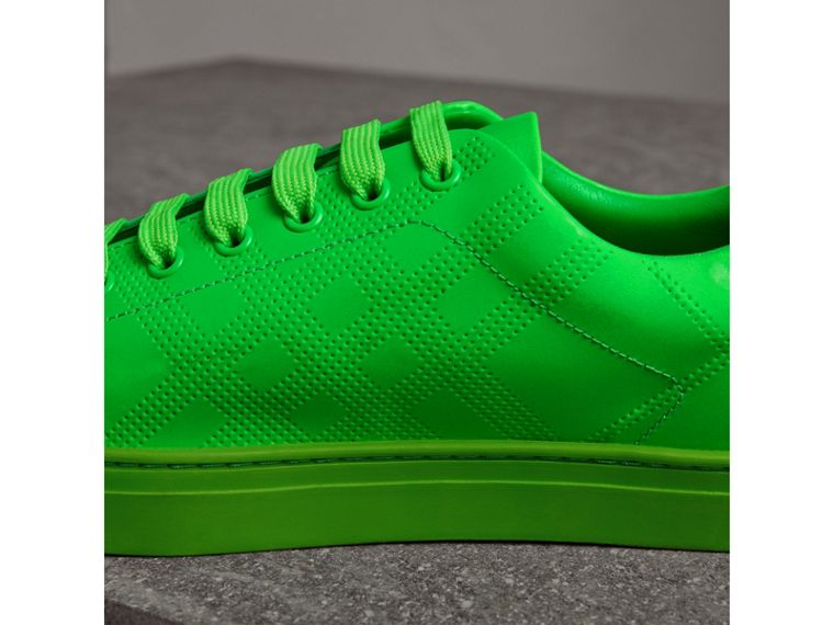 Perforated Check Leather Sneakers in Neon Green - Men | Burberry - cell image 1