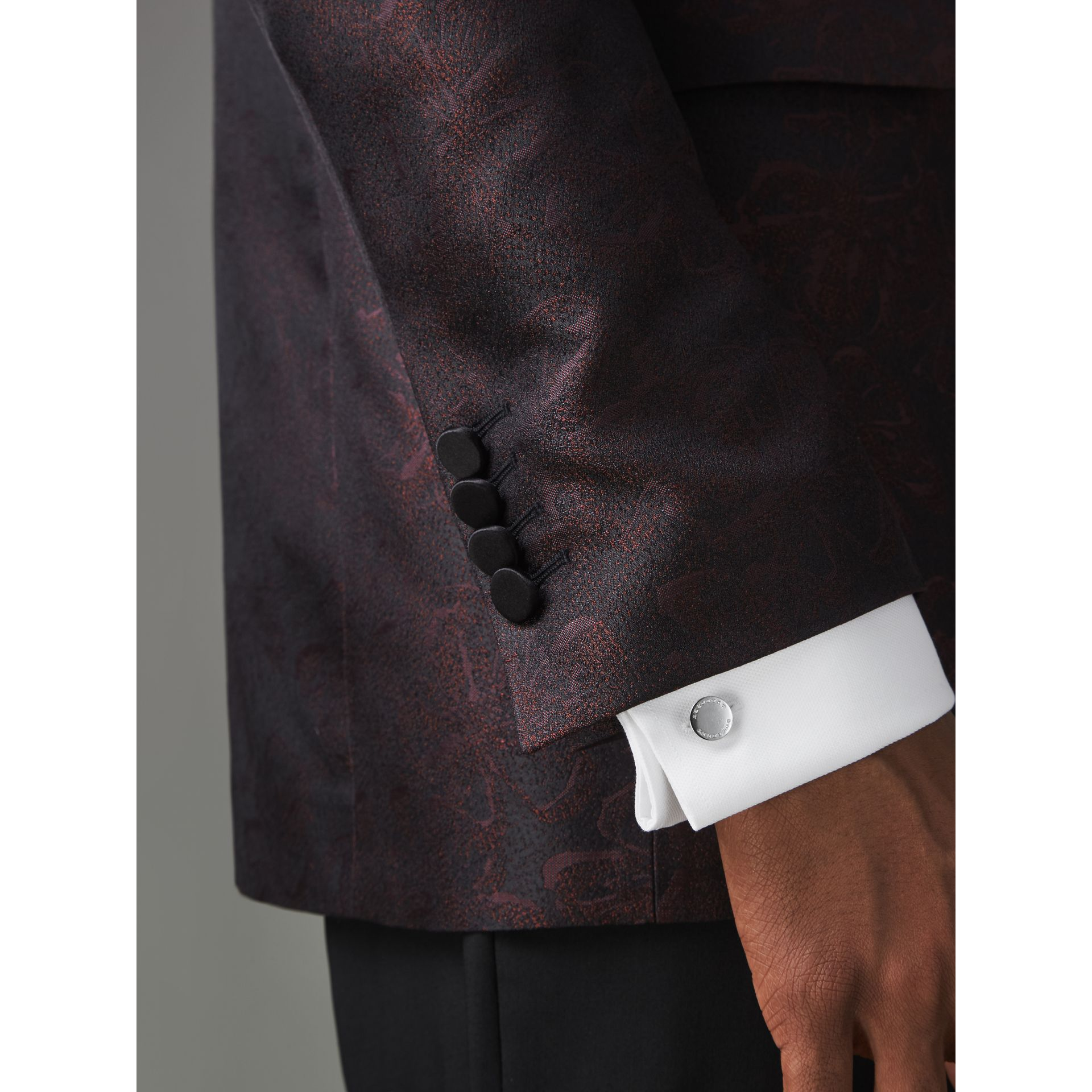 Slim Fit Floral Silk Jacquard Evening Jacket in Deep Claret - Men | Burberry United Kingdom - gallery image 1