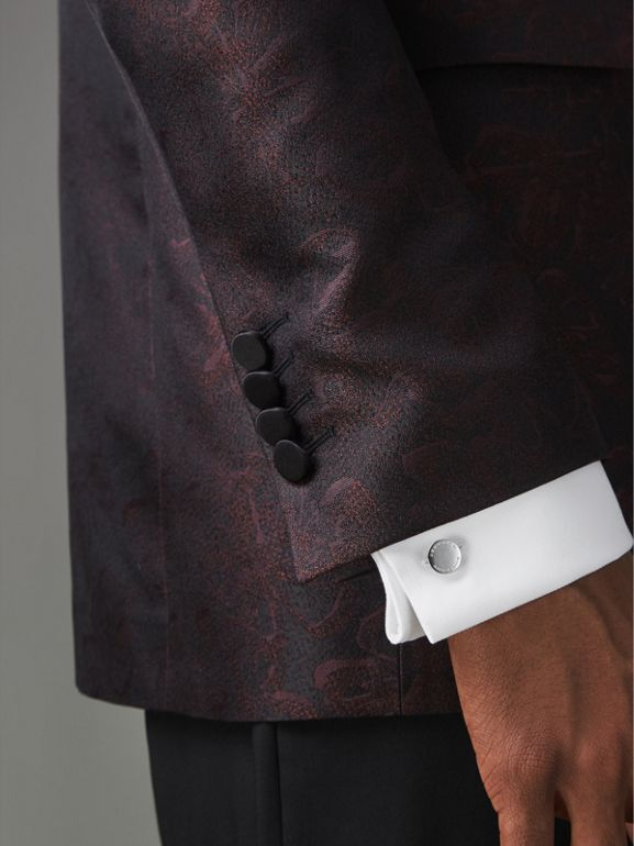 Slim Fit Floral Silk Jacquard Evening Jacket in Deep Claret - Men | Burberry United Kingdom - cell image 1