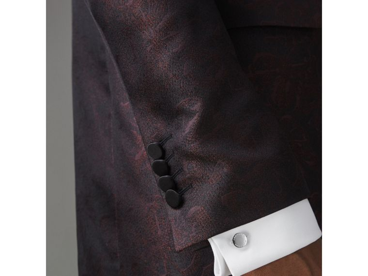 Slim Fit Floral Silk Jacquard Evening Jacket in Deep Claret - Men | Burberry Australia - cell image 1