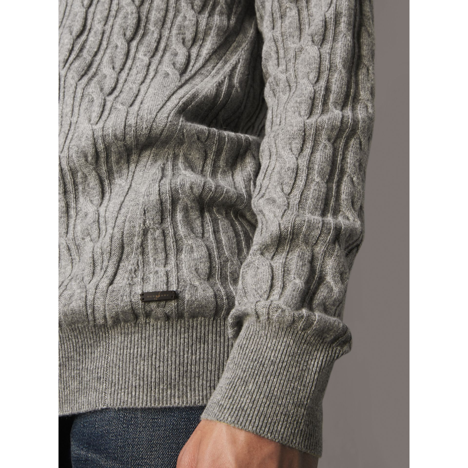Cable and Rib Knit Cashmere V-neck Sweater in Mid Grey Melange - Men | Burberry - gallery image 2
