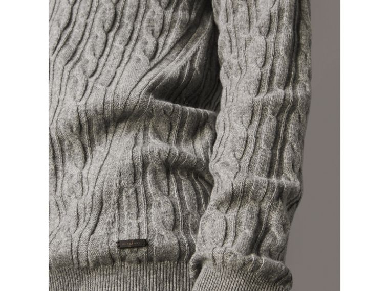Cable and Rib Knit Cashmere V-neck Sweater in Mid Grey Melange - Men | Burberry - cell image 1