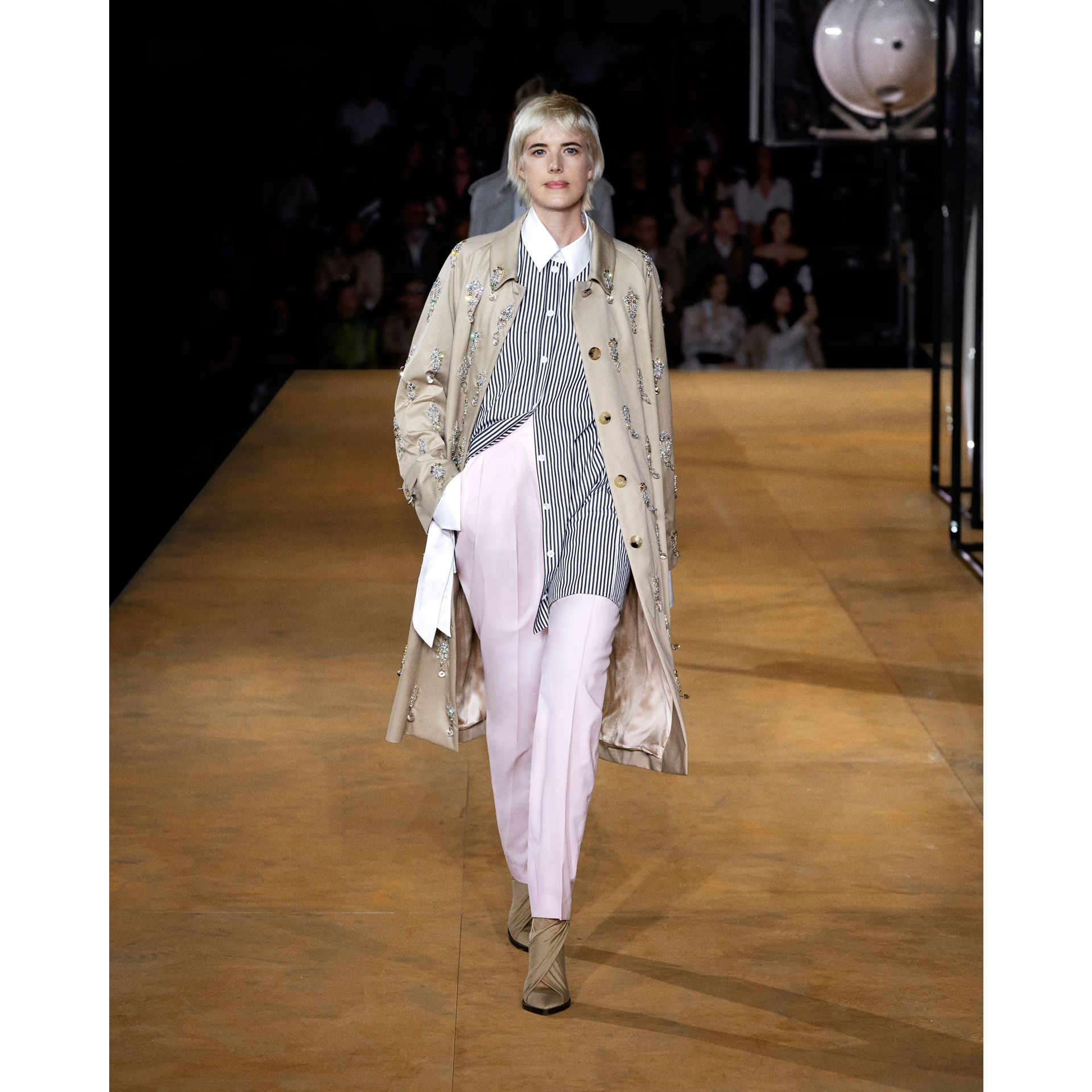 Custom Fit Cut-out Detail Wool Tailored Trousers in Pastel Pink - Women | Burberry United States - gallery image 1
