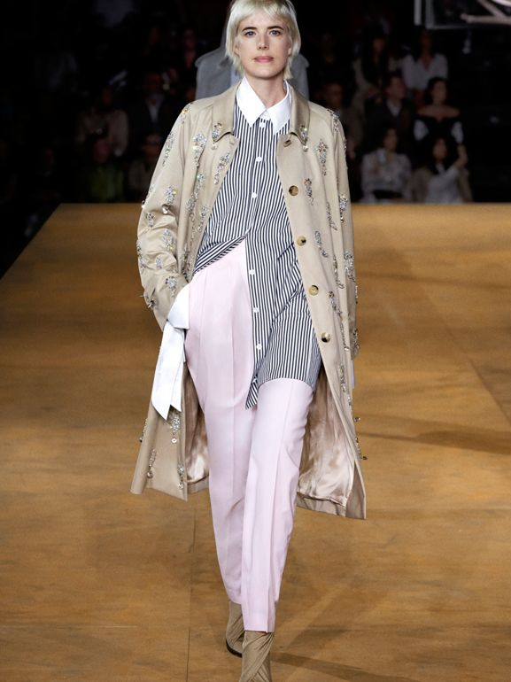 Custom Fit Cut-out Detail Wool Tailored Trousers in Pastel Pink - Women | Burberry United States - cell image 1