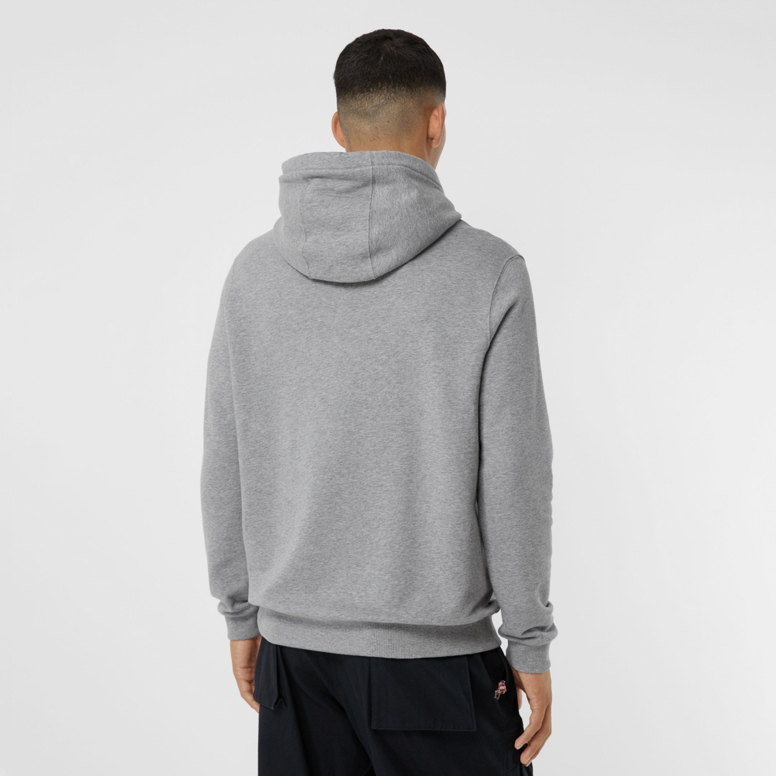 Logo Graphic Cotton Oversized Hoodie in Pale Grey Melange - Men | Burberry United States - 3