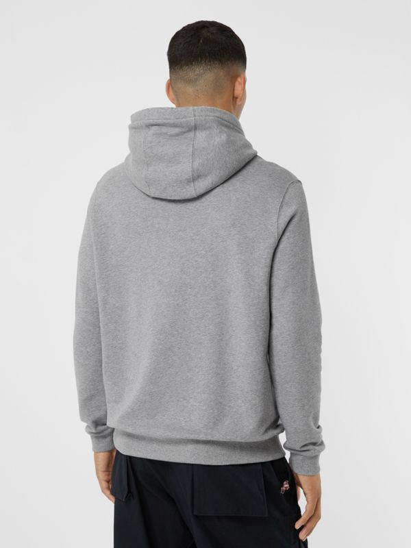 Logo Graphic Cotton Oversized Hoodie in Pale Grey Melange - Men   Burberry United Kingdom - cell image 2