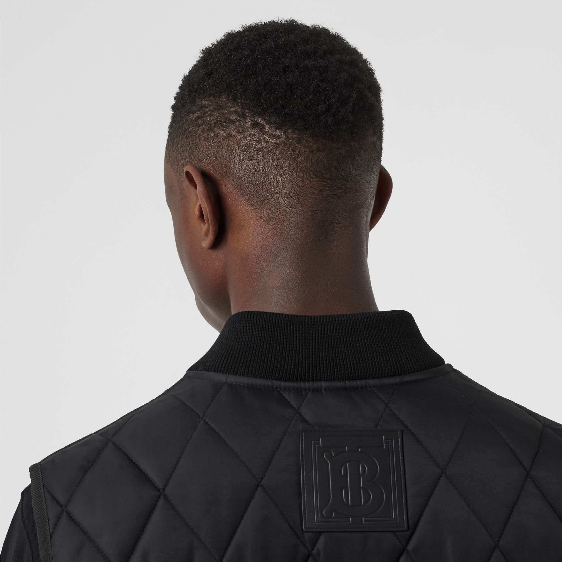 Monogram Motif Diamond Quilted Gilet in Black - Men | Burberry Canada - gallery image 4