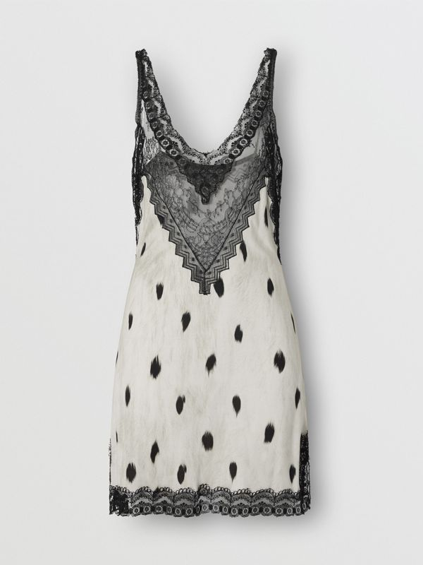 Lace Panel Animal Print Slip Dress in Black/white - Women | Burberry - cell image 3
