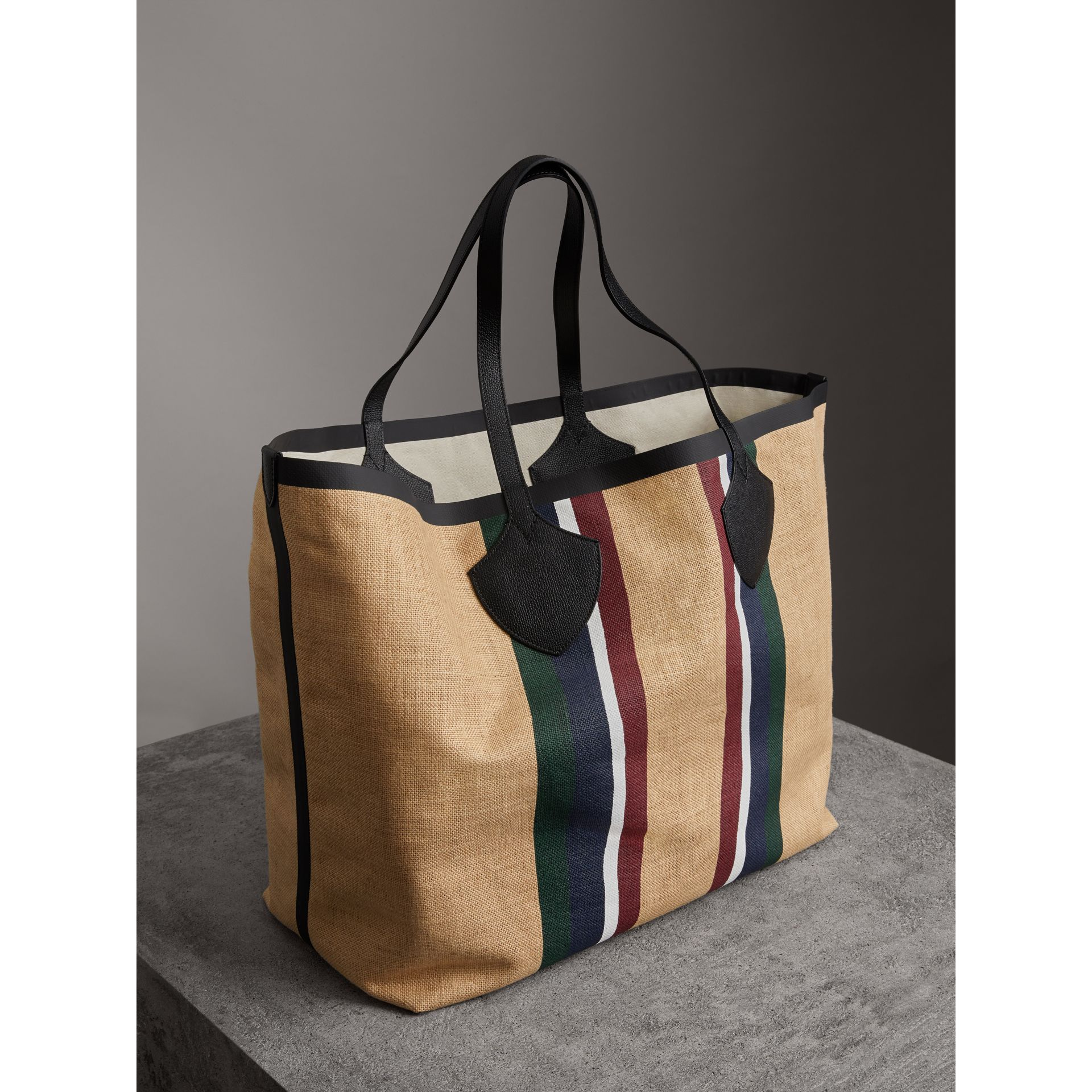 The Giant Tote in Striped Jute in Black - Women | Burberry - gallery image 2