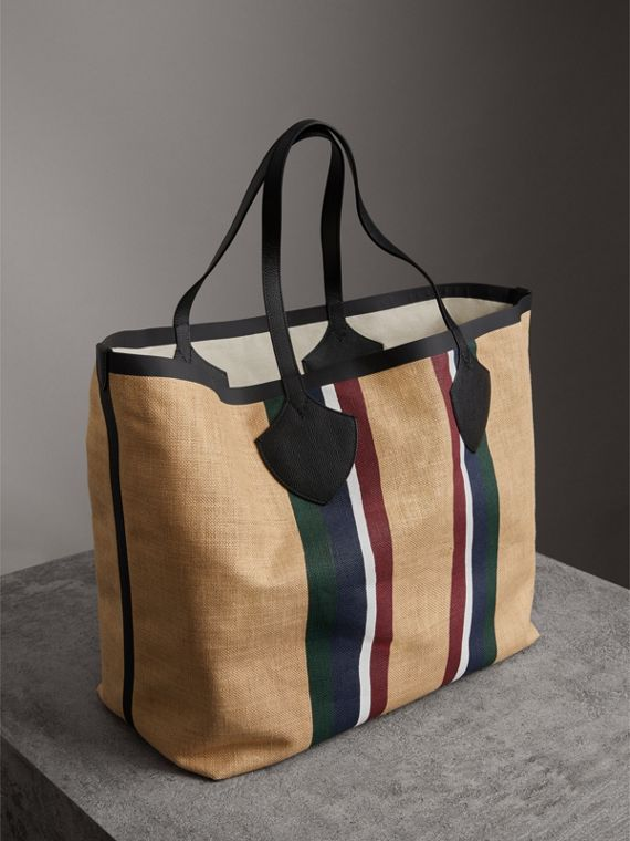 The Giant Tote in Striped Jute in Black - Women | Burberry - cell image 2