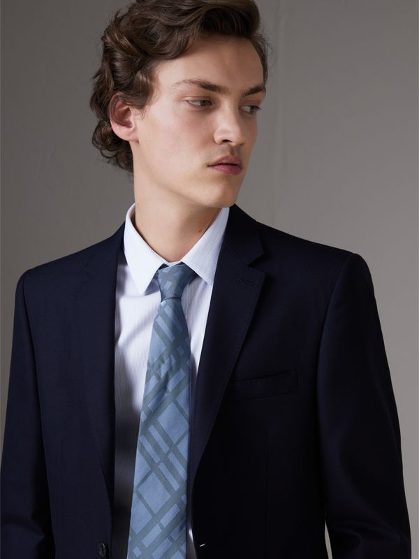 Classic Cut Check Silk Jacquard Tie in Light Blue - Men | Burberry - cell image 2