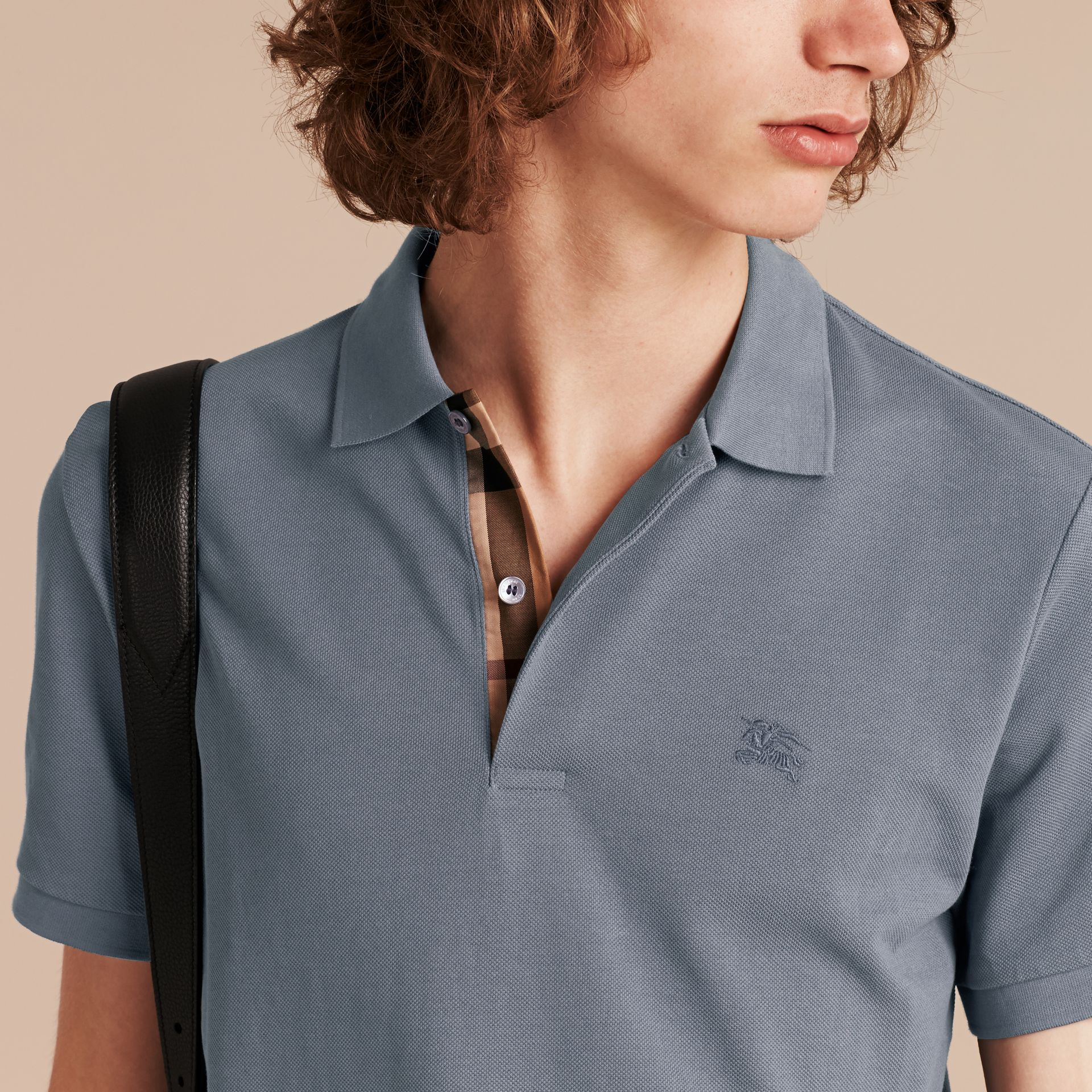 Check Placket Cotton Piqué Polo Shirt in Stone Blue - gallery image 5