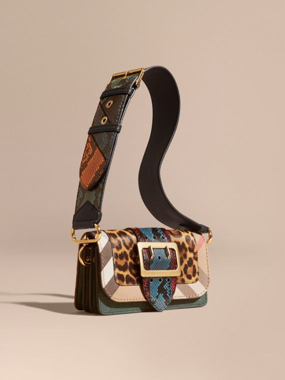 The Patchwork in Leopard-print Calfskin and Textured Suede - Women   Burberry