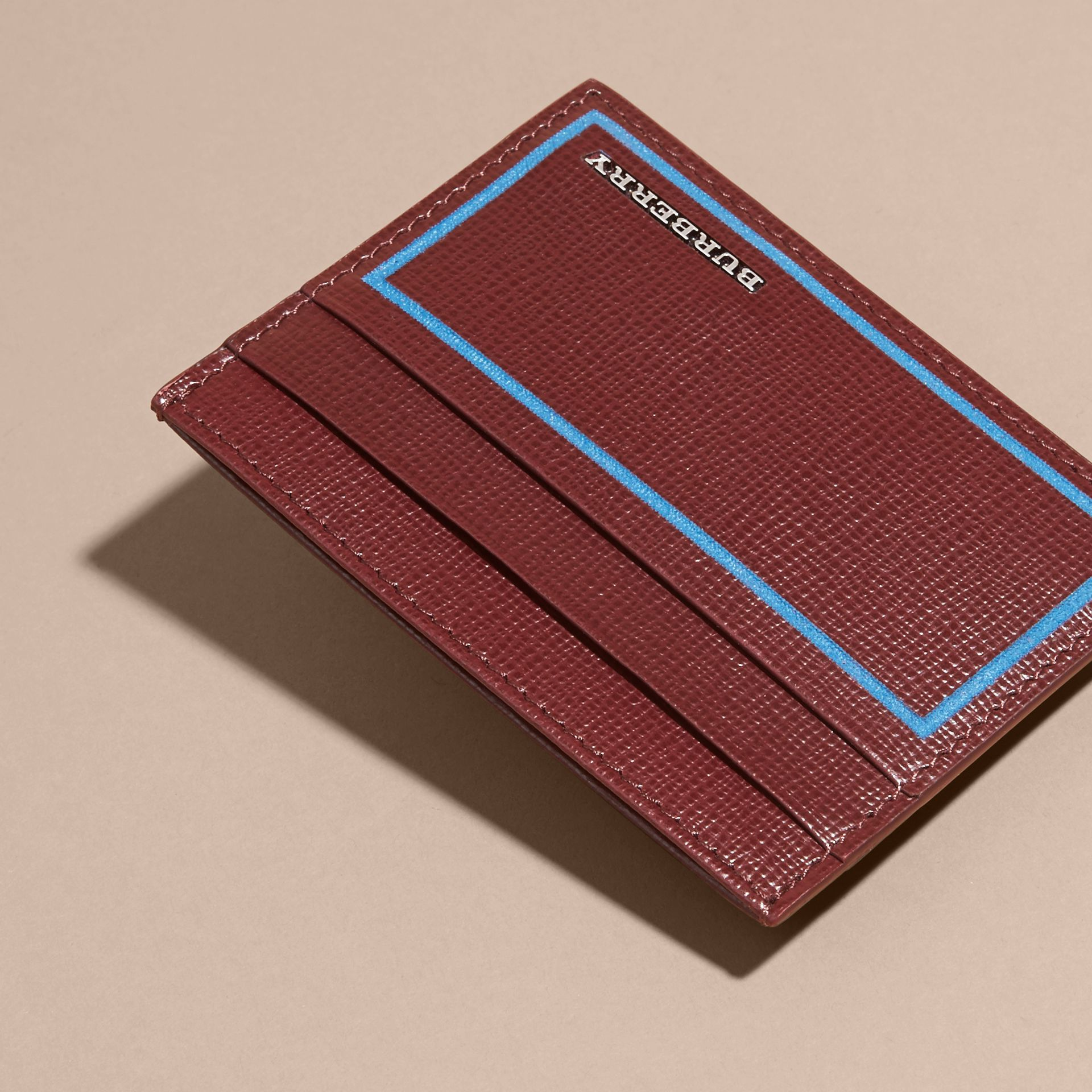 Border Detail London Leather Card Case in Burgundy Red - gallery image 6