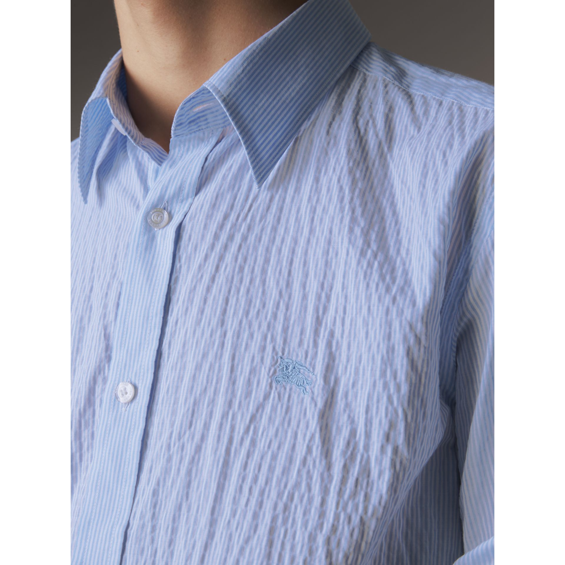 Striped Seersucker Stretch Cotton Shirt - Men | Burberry - gallery image 2